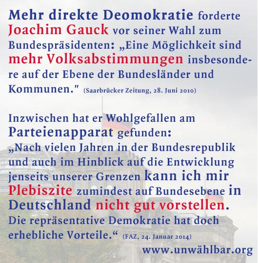 Gauck gegen direkte Demokratie